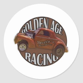 Golden Age Willys Gasser Drag Racing Patina Classic Round Sticker