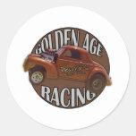 Golden Age Willys Gasser Drag Racing Patina Round Sticker