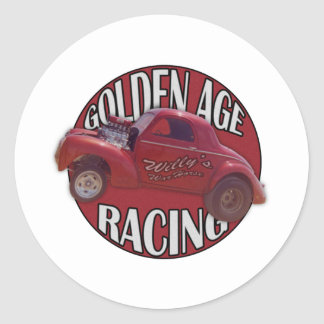 Golden Age Willys Gasser Drag Racing Red Classic Round Sticker