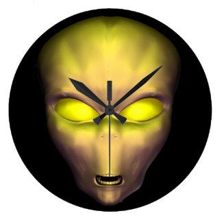Golden Alien Large Clock