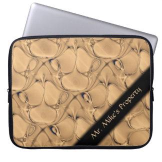 Golden Alligator Fractal Personal Laptop Sleeve