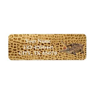 Golden Alligator Tooled Leather Label