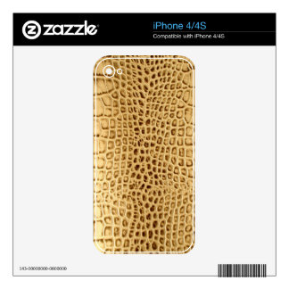 Golden Alligator Tooled Leather Skins For The iPhone 4