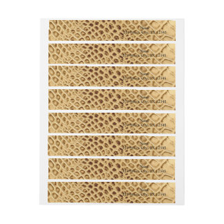 Golden Alligator Tooled Leather Wrap Around Address Label