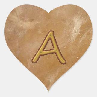 Golden Alphabet A AA AAA : Vintage Base Heart Sticker