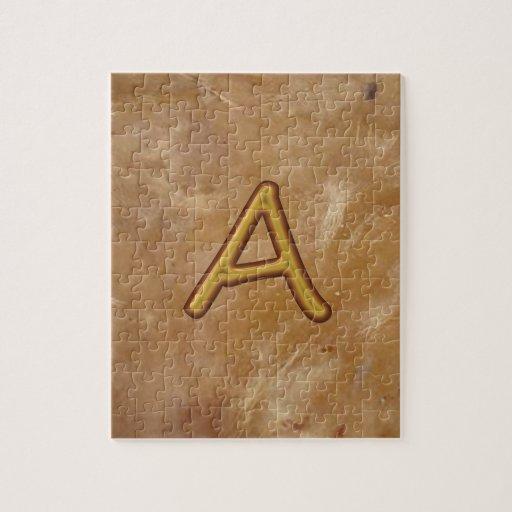 Golden Alphabet A AA AAA : Vintage Base Puzzle