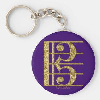 Golden Alto Clef Basic Round Button Keychain