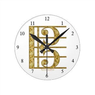 Golden Alto Clef Clock