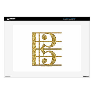 Golden Alto Clef Decal For Laptop