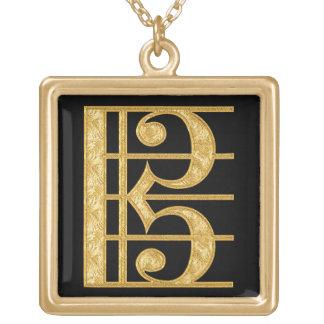Golden Alto Clef Square Pendant Necklace