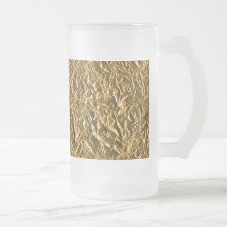 Golden Aluminium Background Frosted Glass Beer Mug