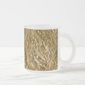 Golden Aluminium Background Frosted Glass Coffee Mug