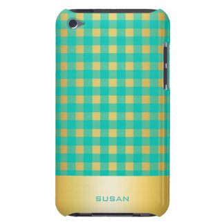 golden an turquoise checkered pattern with name iPod Case-Mate case