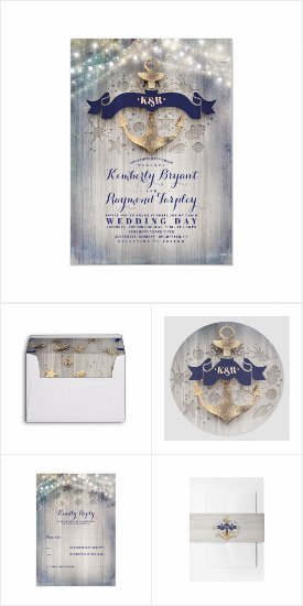 Golden Anchor Nautical Beach Theme Wedding Invitation Collection - Coordinating Stationary Set