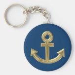 Golden anchor key chain