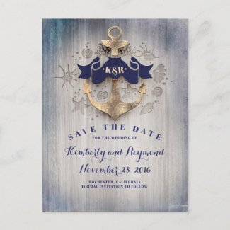 Golden Anchor Nautical Save the Date Announcement Postcard