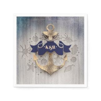 Golden Anchor Navy Blue Nautical Wedding Napkin