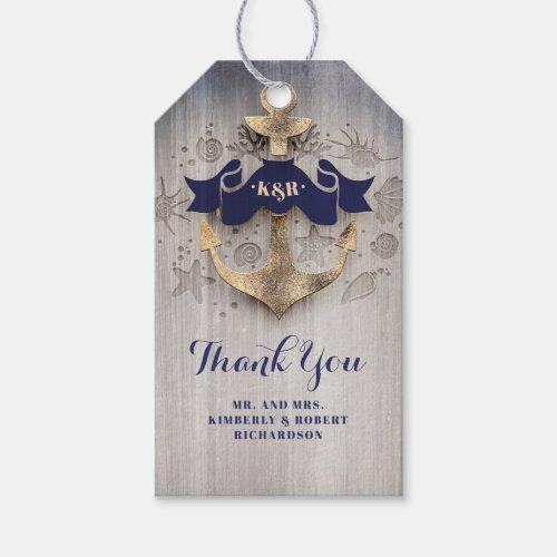 Golden Anchor Navy Nautical Wedding Gift Tags