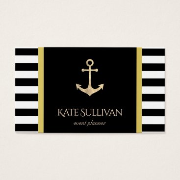 Professional Business golden anchor on black stripes business card