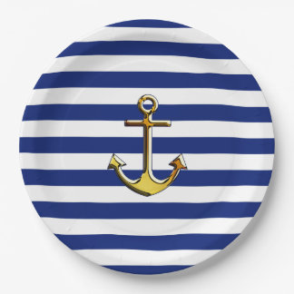 Golden Anchor on Nautical Navy Blue Stripes Print Paper Plate