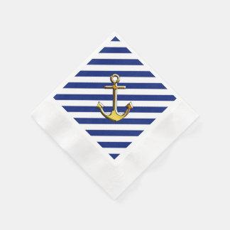 Golden Anchor on Navy Stripes Napkin