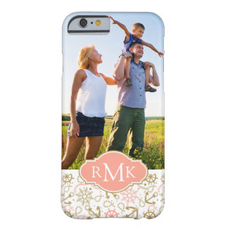 Golden Anchor Pattern| Your Photo & Monogram Barely There iPhone 6 Case