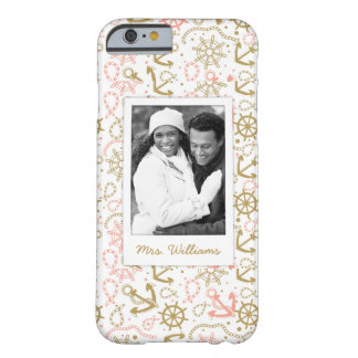 Golden Anchor Pattern | Your Photo & Name Barely There iPhone 6 Case