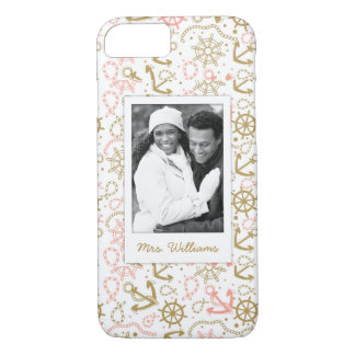 Golden Anchor Pattern | Your Photo & Name iPhone 7 Case
