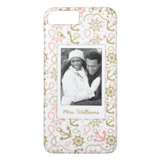 Golden Anchor Pattern | Your Photo & Name iPhone 7 Plus Case