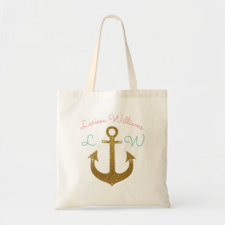 golden anchor personalized tote bag
