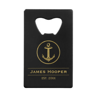 Golden anchor with name and date | Nautical Gifts Credit Card Bottle Opener