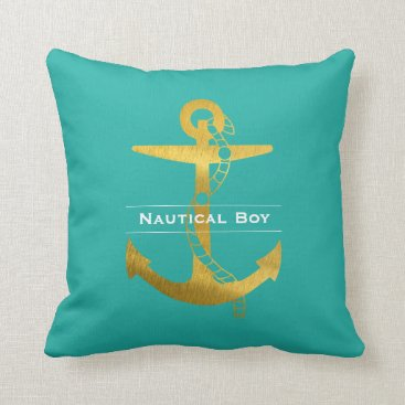 Beach Themed Golden Anchor with Rope | Nautical Boy Throw Pillow