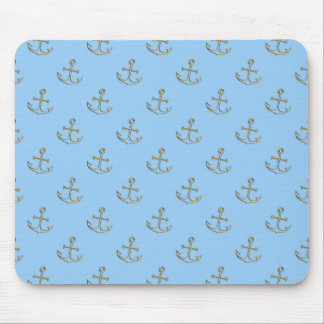 Golden Anchors, Blue Sea Mouse Pad