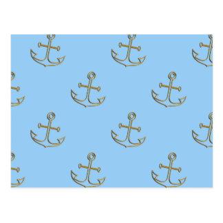 Golden Anchors, Blue Sea Post Card