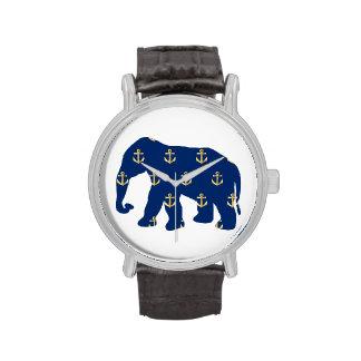 Golden Anchors Elephant Wrist Watch