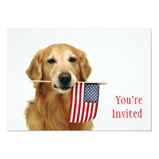 Golden and American Flag 5x7 Paper Invitation Card