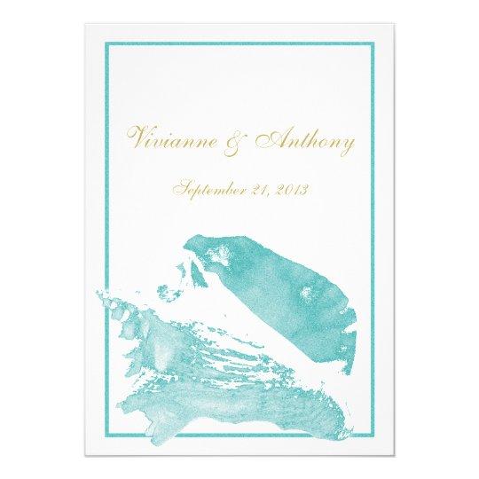 Marine Wedding Invitations: Aqua-marine And Silver Monogrammed Invitation II