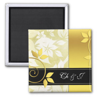 Golden and black floral wedding 2 inch square magnet