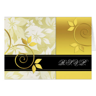 Golden and black floral wedding card