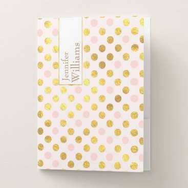 Professional Business Golden and Blush Polka Dots Pocket Folders