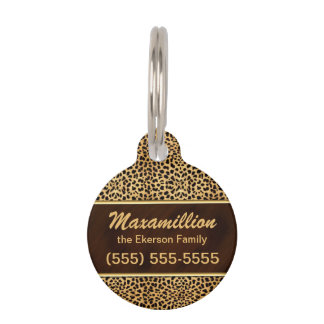 Golden and Brown Cheetah for Pets Pet ID Tag