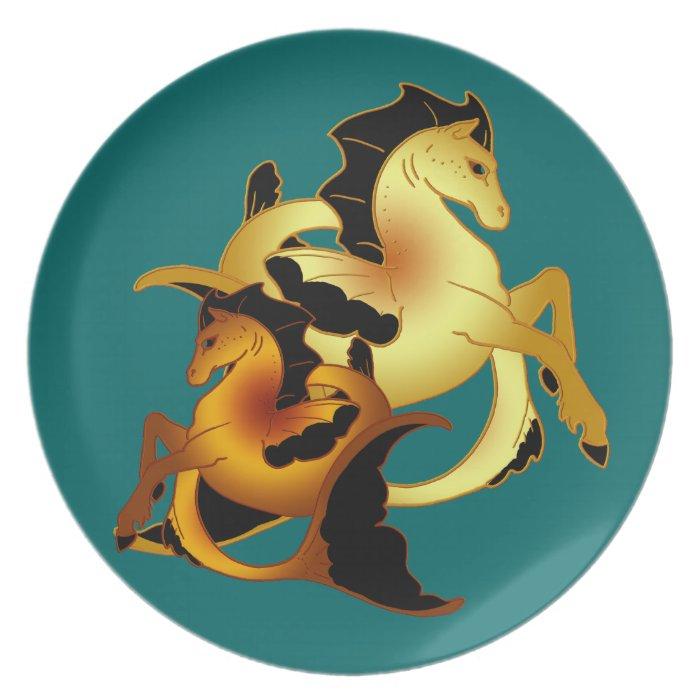 Golden and Copper Sea Horse Melamine Plate