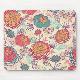 Golden and purple peonies pattern mouse pad