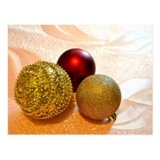 Golden and Red Christmas balls postcard
