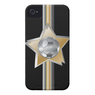 Golden and silver effect Soccer ball Star Case-Mate iPhone 4 Case