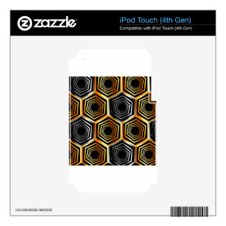 Golden and silver hexagonal background iPod touch 4G decal