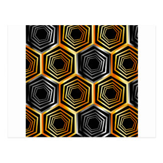 Golden and silver hexagonal background postcard