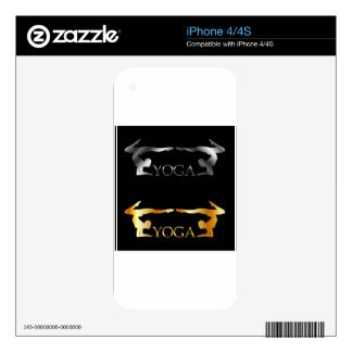 Golden and silver yoga or gymnastics logo skins for iPhone 4S