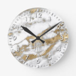 Golden and White Marble Round Clock