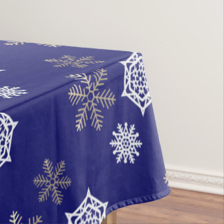 Perfect Golden And White Snowflakes Against Midnight Blue Tablecloth